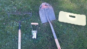For this garden session, I will be using a bow rake, bulb planter, shovel and knee pad.