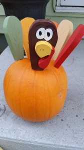 Thanks to my mom for making this cute wooden turkey set that can be inserted in a pumpkin.